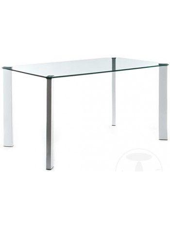 Tavolo  JANET 1720 scrivania piano in vetro temperato trasparente spessore 12 mm. con gambe in metallo verniciato bianco.