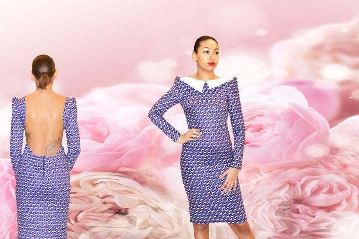 robe elzi, imprimé, créateur, wax, robe créateur, by natacha baco, made in france, designer dress, dress, dos nu, backless, made in paris,