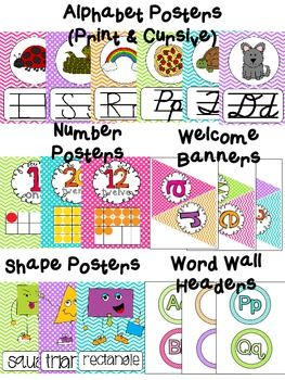 Chevron & Polka Dots$ Classroom Posters Pack - includes alphabet posters in print and cursive, a welcome to (kindergarten, 1st, 2nd, 3rd, 4th, & 5th grade), shape posters, word wall headers, numbers 1-20 posters with tens frames
