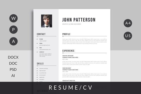 Resume/CV Template with super clean and modern look. It includes single page resume and cover letter. Easy to use and customize, so you can quickly tailor-make your job resume for any opportunity and help you to get your job. This is the fast and flexible solution for anyone looking for a professional resume. Features: A4 Size - 210 x 297mm + bleed Letter Size - 8.5 x 11 inch + bleed Print Ready 300 DPI Ready to Print Ms. Word Files (Resume, Cover Letter) Instruction & Help File