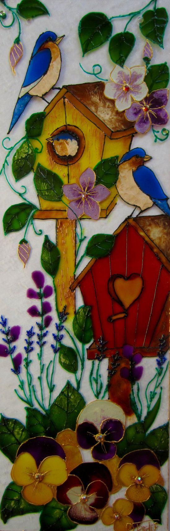 La famille peinture vitrail couleur vive plexiglas fleur oiseau the fa - Faux oiseaux decoration ...
