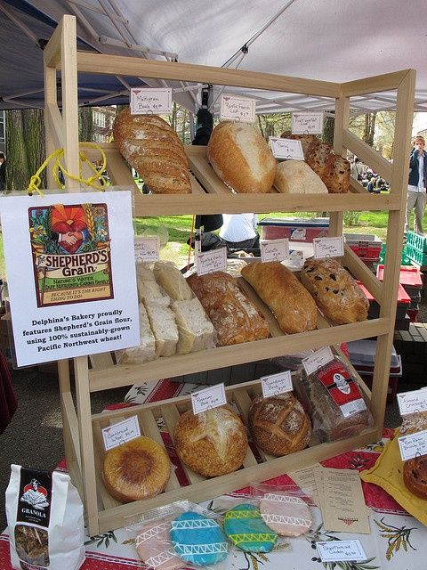 Nice farmer's market tabletop display for bread