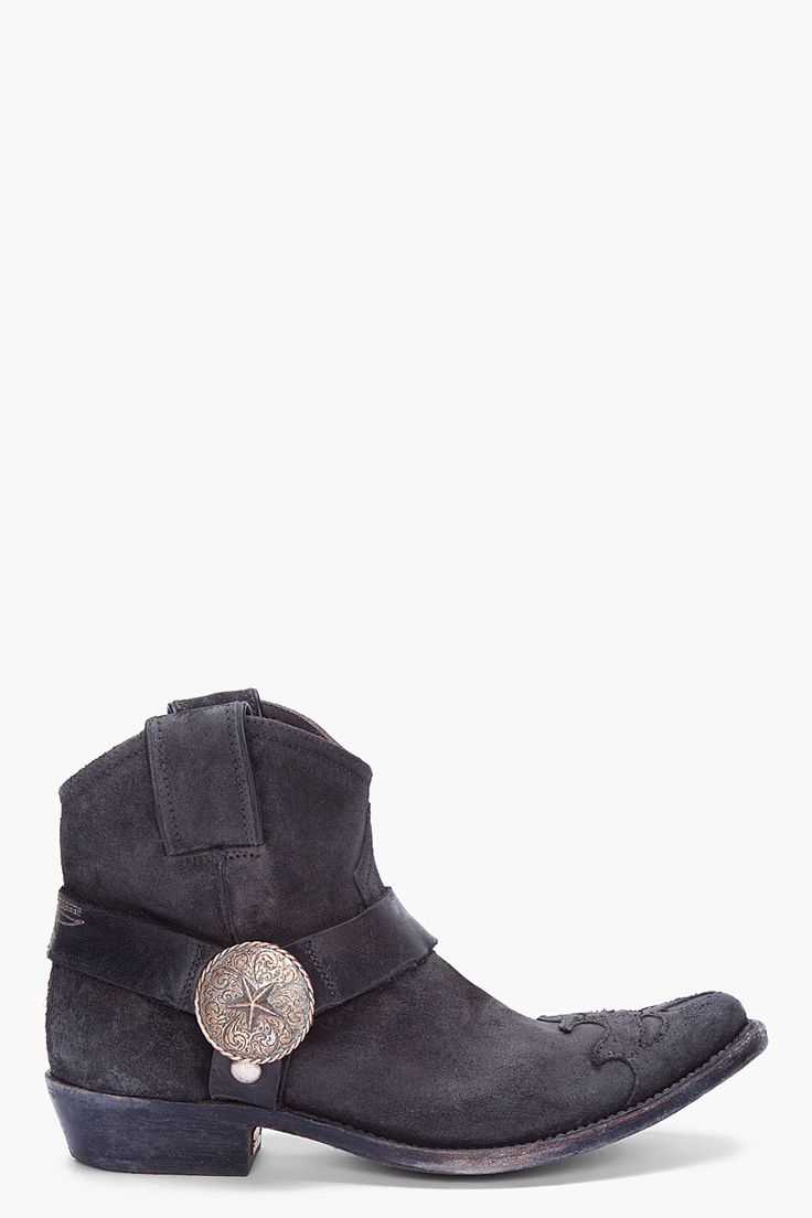 GOLDEN GOOSE Black Raw Suede Cowboy Boots