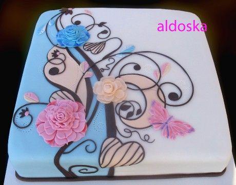 DORTY A SLADKOSTI aneb PEČEME S LÁSKOU - Fotoalbum - -MOJE PEČENÍ- - MOJE DORTY - My cakes - Květinový ornament1