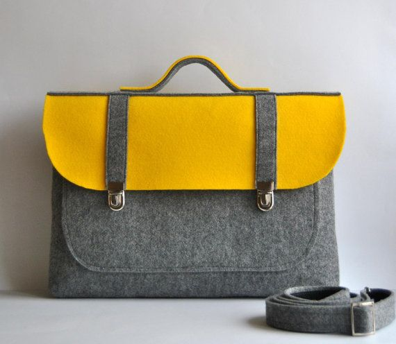 Felt briefcase 16 MacBook Pro laptop urban bag sleeve with a pocket satchel case gray felt with stylish buckle Common Laptop Bag on Etsy, $55.00