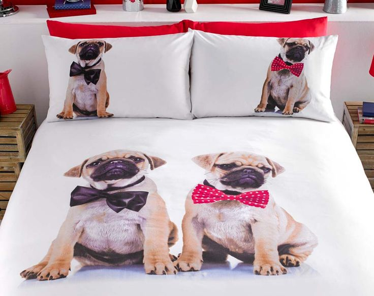 """Cute and cuddly... Fun and fashionable """"on trend"""" and everyone's favourite cuddly canine on a stunning design.   Available in duvet sets (single with 1 pillowcase, double and king size with 2 pillowcases).   50% cotton/50% polyester. Machine washable."""