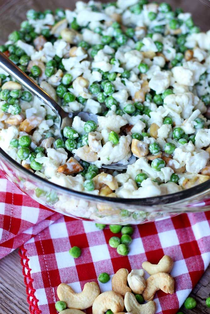 Cauliflower, Cashew and Pea Salad | Recipes Worth Repeating | http://recipesworthrepeating.com/recipes/salads/cauliflower-cashew-and-pea-salad/