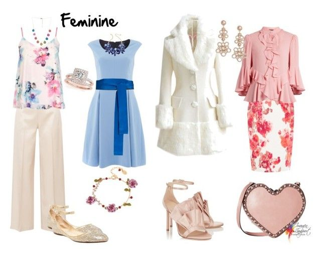 Feminine by imogenl on Polyvore featuring polyvore fashion style Ellen Tracy Alexander McQueen Dorothy Perkins WithChic The Row Damsel in a Dress Betsey Johnson Rebecca Minkoff Kate Spade Les Néréides Allurez Marc Jacobs Diane Von Furstenberg clothing