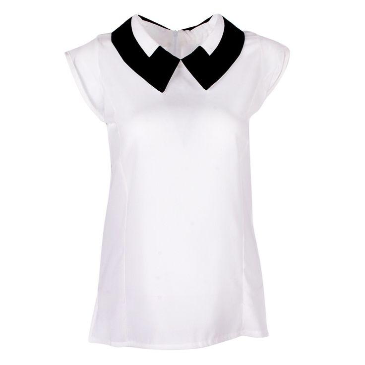 ホワイトブラックブルー女性blusa夏ゆるいカジュアルノースリーブシフォンブラウス