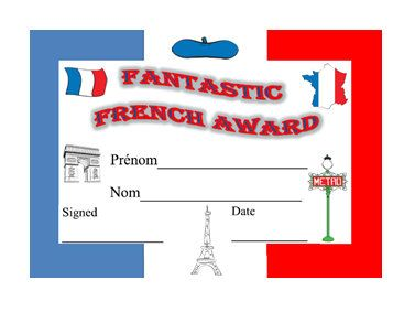 French Language Award-Printable Student by YippeeLearning on Etsy