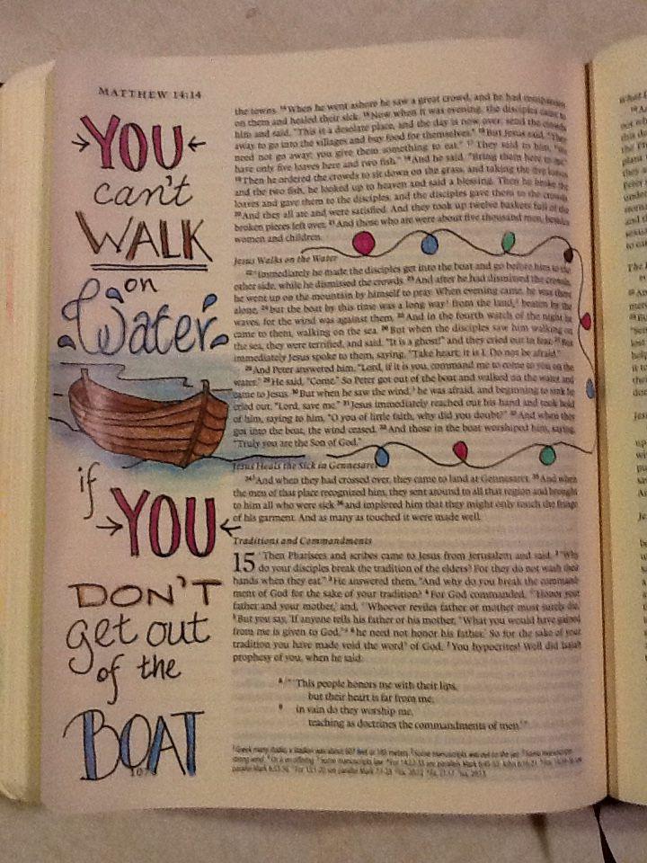 Matthew 14:22:33. Sherrie Bronniman - Art Journaling: In My Bible