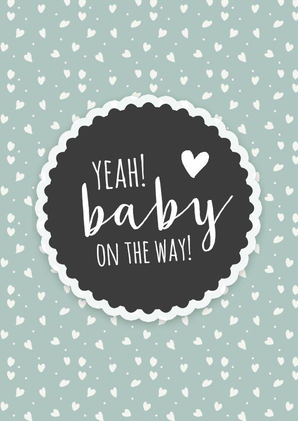 Leuke retro felicitatiekaart voor als er een baby op komst is, verkrijgbaar bij #kaartje2go voor € 1,89
