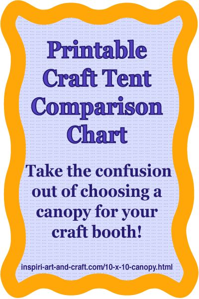 Free printable craft tent comparison chart makes it easy to compare different portable canopy brands. http://www.craftprofessional.com/10-x-10-canopy.html
