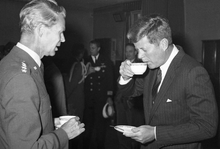 President John F. Kennedy sipped coffee during his visit to SHAPE, Nato's military headquarters outside Paris on June 2, 1961.