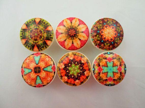 Set of 6 Morocco Mandala Cabinet Knobs