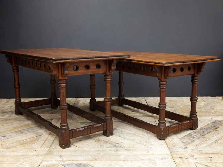Pitch pine library tables in the gothic revival manner.  Scottish circa 1870