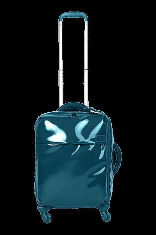 Plume Vinyle Valise Cabine 4 Roues 55cm Bleu Aqua   Lipault