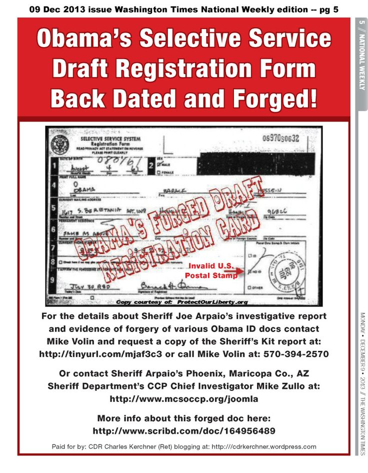 Obama\u0027s Back Dated  Forged Selective Service Form Hits Washington