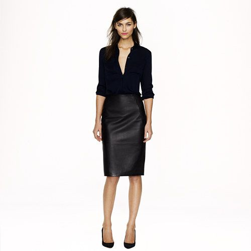 Style Inspiration: Black button down shirt with leather pencil skirt