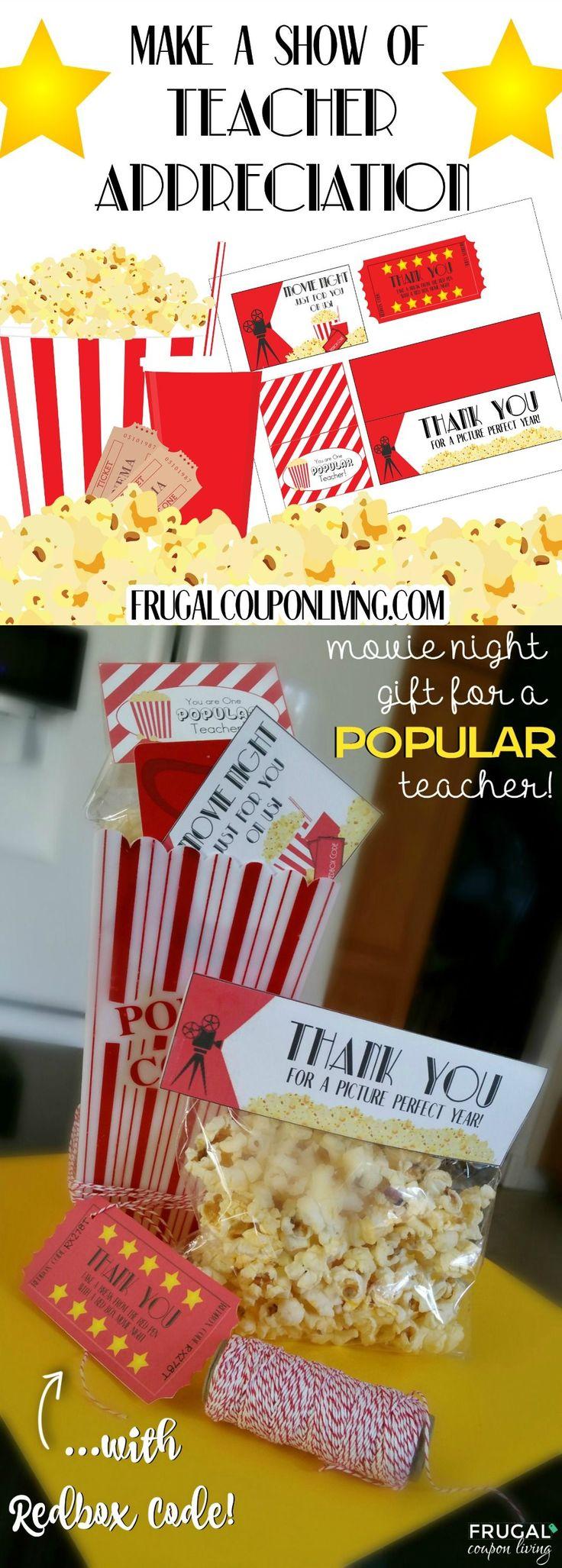 Looking for a fun way to celebrate a teacher? Print your freeMovie Night Teacher Appreciation Gift for a POPULAR teacher. Redbox Code Gift Idea. #teacherappreciationgifts