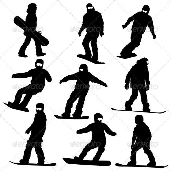 Snowboard Silhouette Set #GraphicRiver