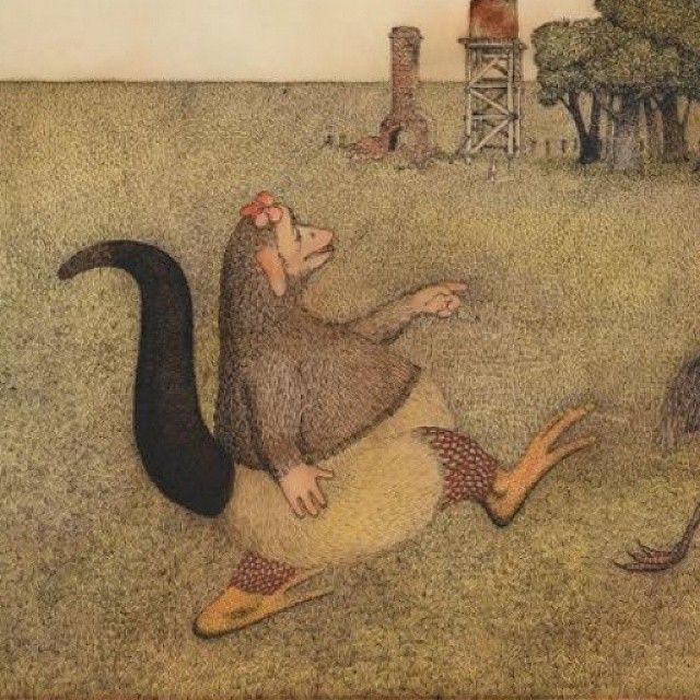 What do Bunyips look like? Find out by exploring the iconic #Australian #Children's #illustrations in #BunyipsandDragons, now showing at #NGVAustralia. Ron BROOKS 'Handsome webbed feet?' called the Bunyip (1973) illustration for The Bunyip of Berkeley's Creek by Jenny Wagner, published by Longman Young Books in association with Childerset, Melbourne, 1973, pp. [10-11] Gift of Albert Ullin OAM, 2014 2014.567 © Ron Brooks, 1973