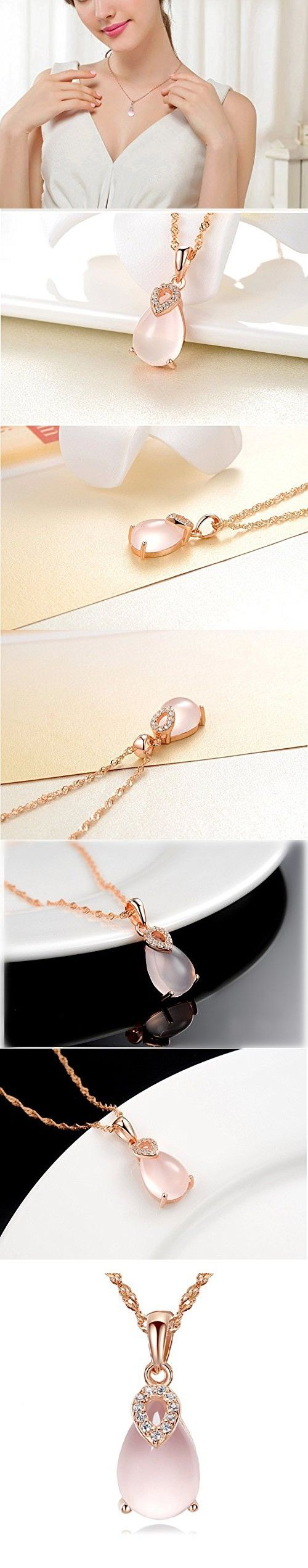 Tabwing Lucky Stone Women Necklace Pendant ,Love Gem Bridal Wedding Jewelry,bridesmaid Gift (Pink)