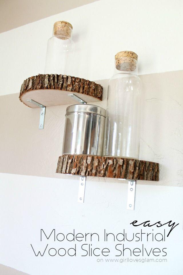 Modern Industrial Wood Slice Shelves on www.girllovesglam.com
