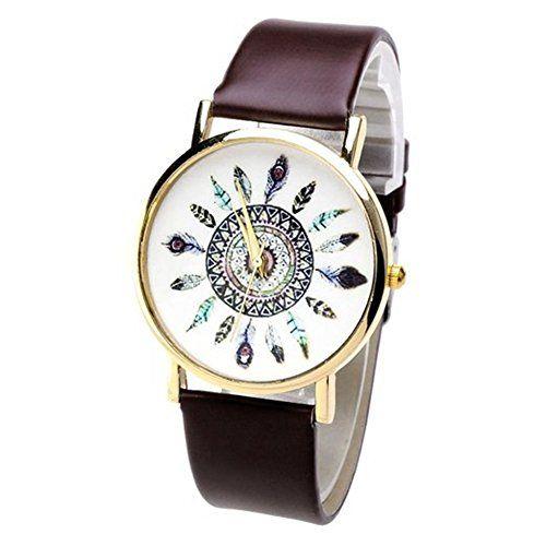 SAMGU Nouveau Damen Lässig Armbanduhr Feder Blatt Indianerstamm-Stil Quarzuhr aus Leichtmetall Lederarmband Analoge Uhr Watch Uhren - http://uhr.haus/samgu/samgu-nouveau-damen-laessig-armbanduhr-feder-aus