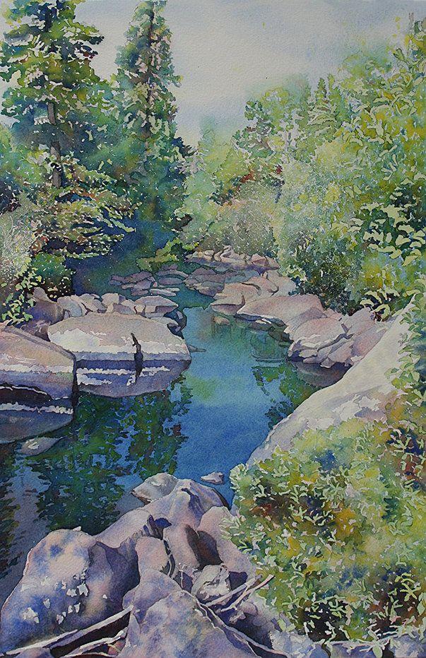 River Stream Landscape Painting Print Landscape Watercolor River Stream Watercolor Forest Paintin Forest Painting Watercolor Landscape Nature Art Prints