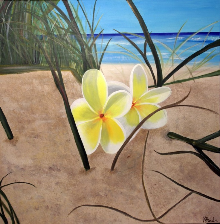 """Plumeria's in the Rough""  30""x30""  Acrylic on Canvas by Kristina Heredia.  Please see my website for more details:  www.kristinaheredia.com"