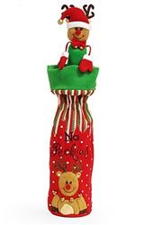 Fun Christmas wine bottle gift bag says No Peeking.  This wine bag includes a matching reindeer bottle topper.