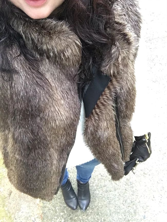 Faux Fur Vest - Banana Republic/ Lord and Taylor Sweater - Hudon's Bay/ Jeans - Old Navy/ Michael Kors Gloves - Marshalls/ Boots - SearsInspiration