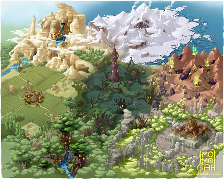7 Section World Map by MoMoJaH on deviantART