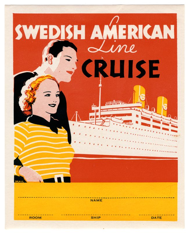 Swedish American Line Cruise (Luggage Label) by Artist Unknown (1951) |  Shop original antique posters online: www.internationalposter.com