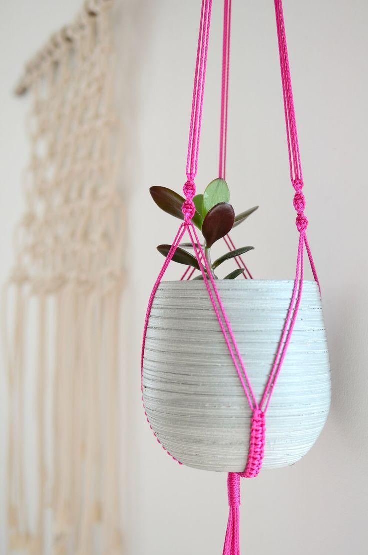 Moderne Makramee Blumenampel Pink 100cm Modern Hanging Planter  Minimalistisch Bohemian Decor Hanging Flower Pot Kettu Kettuwue