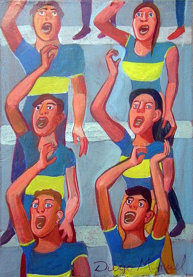 La hinchada de Boca, acrílico sobre tela, 27 x 17 cm. 2015. by Diego Manuel