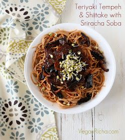 Vegan Richa: Teriyaki Tempeh and Shiitake Mushrooms with Sriracha Soba. Vegan Recipe. Easily Glutenfree.