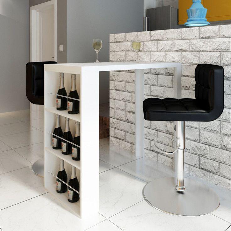 Modern Indoor Shelved Bar Table in High Gloss White | Buy Bar Tables & Sets