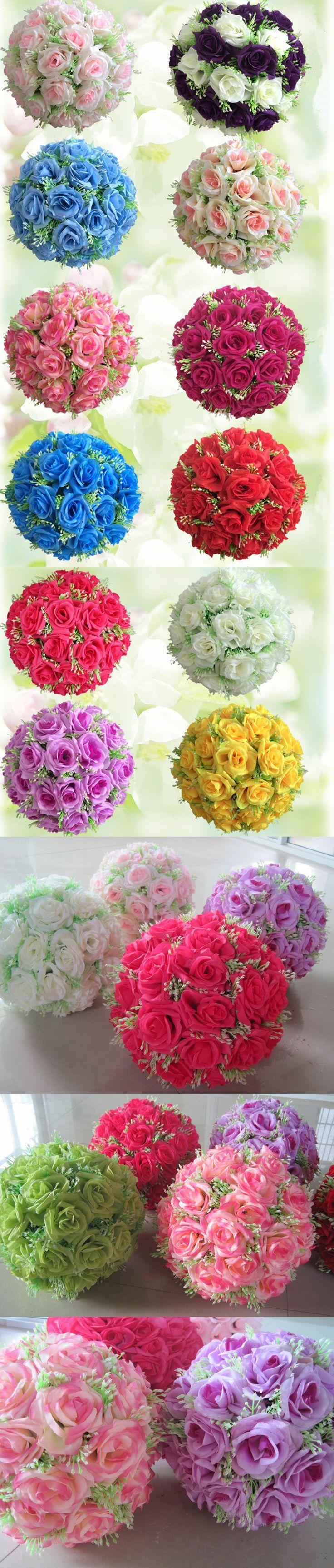 wedding centerpieces fake flowers%0A   inch    cm  Silk Flower Kissing Balls Romantic Flower Ball Centerpieces  New Hanging Flower Balls