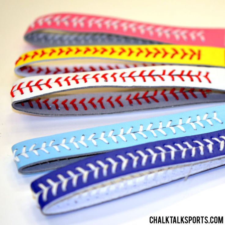 Softball leather stitch headbands are so cute! Great for an end of season gift! Softball girls will love to wear these unique headbands during their games, practices, or just for everyday wear!  They come in five great colors so you are sure to find just the right one for your favorite softball girl! Only from ChalkTalkSPORTS.com