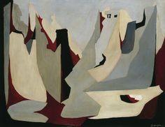 Giulio Turcato - Rovine di varsavia - 1948 -olio su tela - cm 90x115 - Roma Galleria d'Arte Moderna