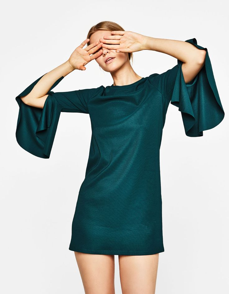 Short dress with ruffled sleeves - Best Sellers ★ - Bershka United States
