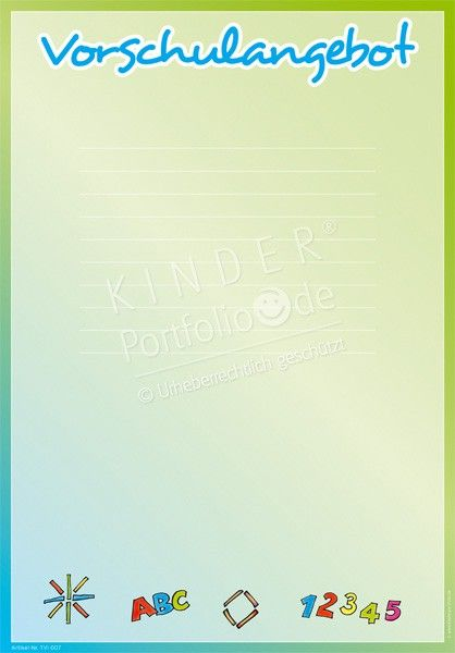 Vorschulangebot - Portfoliovorlage