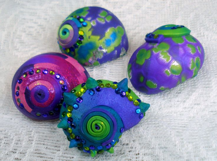 Polymer clay coated real shells for jewelry or craft use! Drilled, rhinestone, patterned, unique! by 1000and1 on Etsy