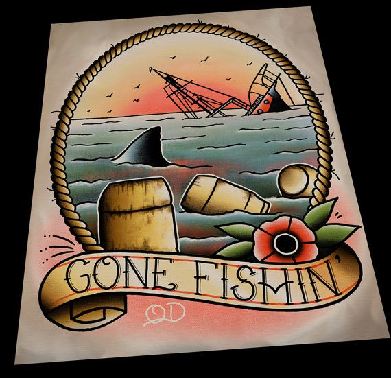 Kiefer Gone Fishin ' Tattoo Print von ParlorTattooPrints auf Etsy