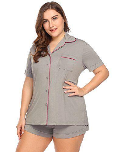 37011253c16 IN VOLAND Women s Plus Size Sleepwear Short Sleeve Pajama Set With PJ Shorts  16W-24W