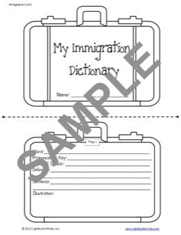 5th Grade Immigration Resource - an awesome activity for teaching dictionary skills and important immigration vocabulary. Check out www.lightbulbmind... for more great Intermediate resources!