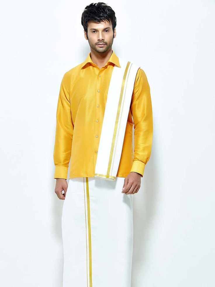Competent golden yellow color raw silk shirt paired with white color cotton dhoti and angavastram. Item code : SCU12002-27 http://www.bharatplaza.com/new-arrivals/south-indian-mens-wear.html