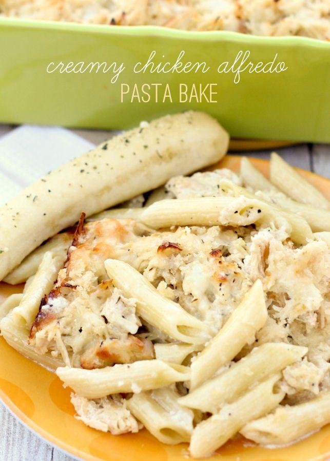 Delicious Creamy Chicken Alfredo Pasta Bake recipe on { lilluna.com }